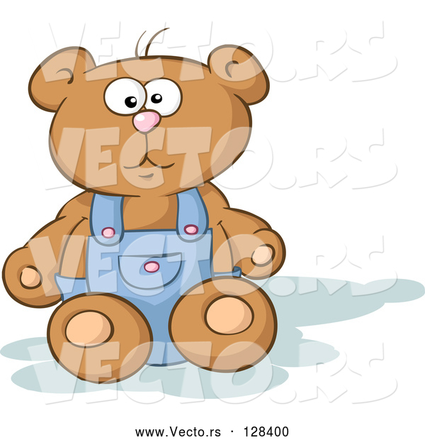 Vector of Stuffed Teddy Bear Sitting and Wearing Blue Overalls