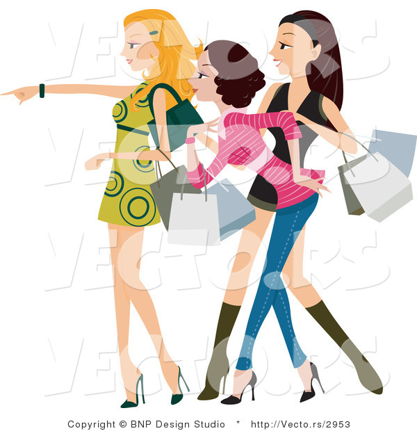 Vector of Stylish Young Girls Getting Excited and Shopping