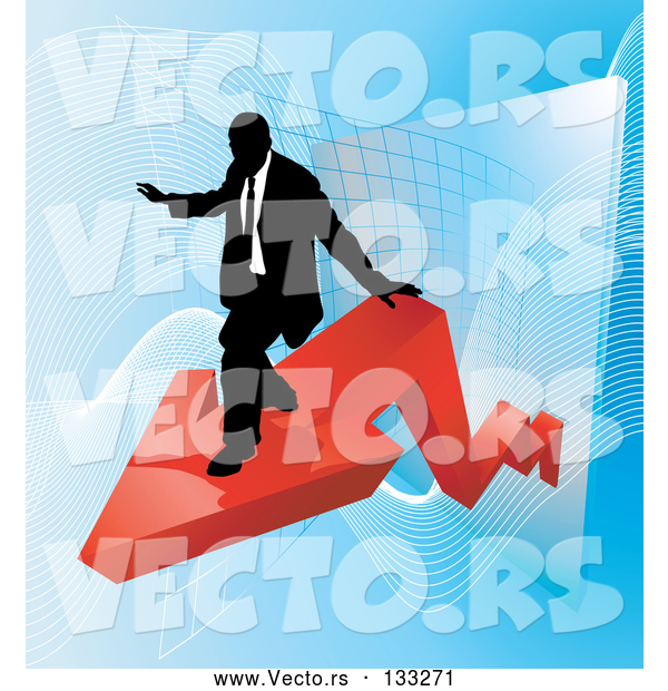 Vector of Successful Business Man Riding on a Red Arrow As Revenue Increases