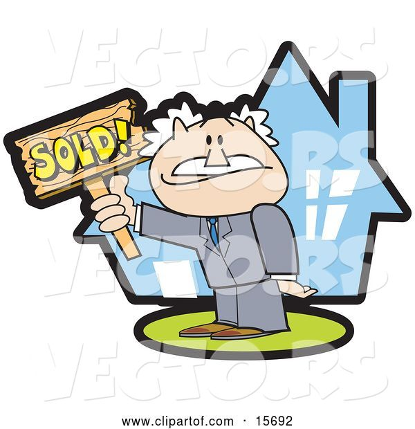 Vector of Successful Male Realtor Standing in Front of a House and Holding a Sold Sign