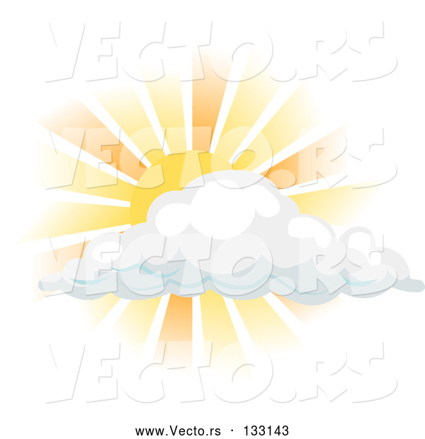 Vector of Sun Shining Behind a Cloud