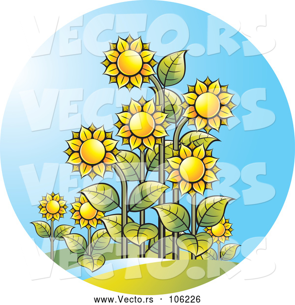 Vector of Sunflower and Sunshine Circle