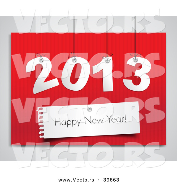 Vector of Suspended 2013 over Red with Happy New Year Greeting over Red