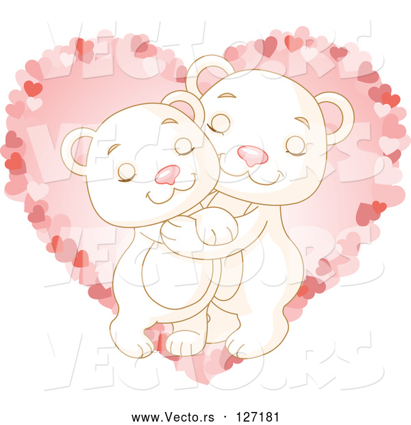 Vector of Sweet Polar Bear Couple Hugging over a Pink Heart