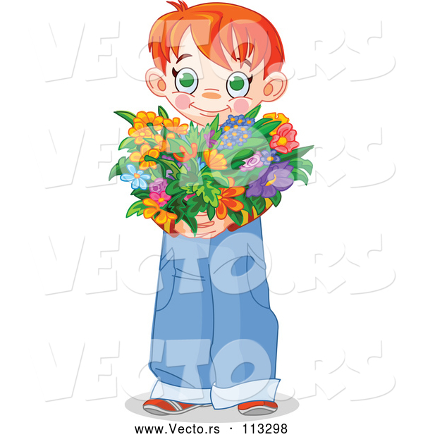 Vector of Sweet Red Haired White Boy Holding a Heart Shaped Flower Bouquet for Valentines or Mothers Day