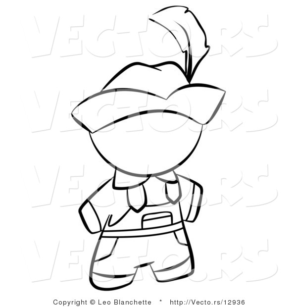 Vector of Swiss Person in a Hat - Coloring Page Outlined Art