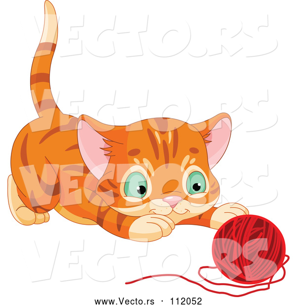 Vector of Tabby Ginger Kitten About to Pounce on a Ball of Yarn