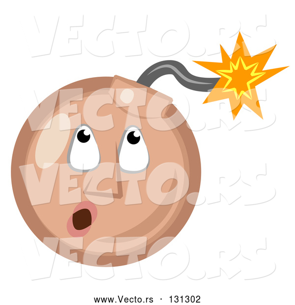 : Vector of Tan Ticking Time Bomb Smiley Face Looking up at the Fuse