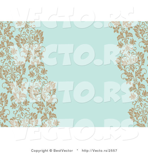 Vector of Tan Vines on Blank Blue Invitation Background