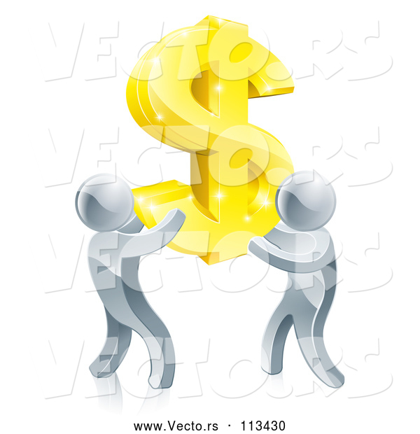 Vector of Team of 3d Silver Men Carrying a Giant Gold USD Dollar Symbol