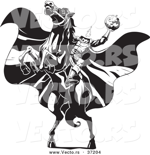 Vector of the Headless Horseman Rearing up on His Horse - Black and White Line Art