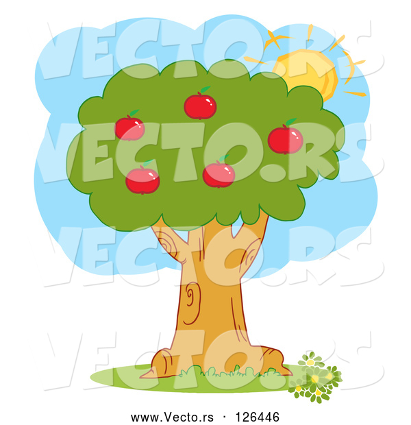 Vector of the Summer Sun Behind a Healthy Red Apple Tree