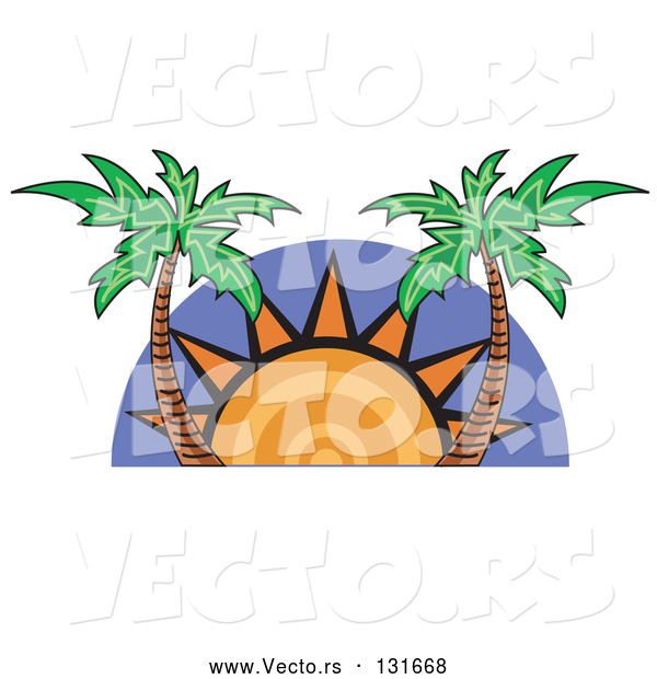 Vector of the Sun Setting Between Palm Trees