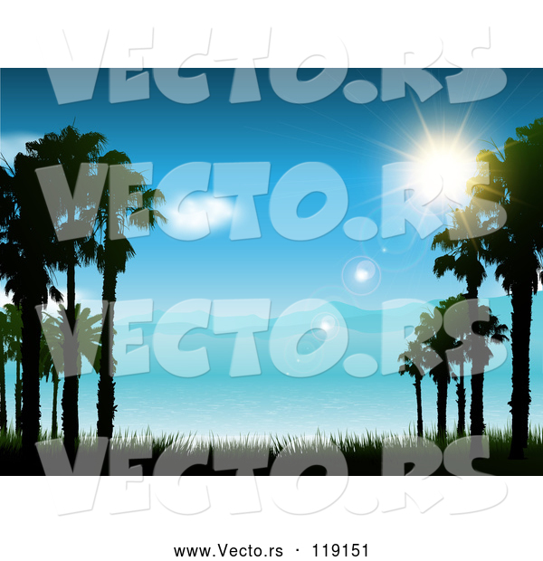 Vector of the Sun Shining over a Blue Coastal Landscape and Sea