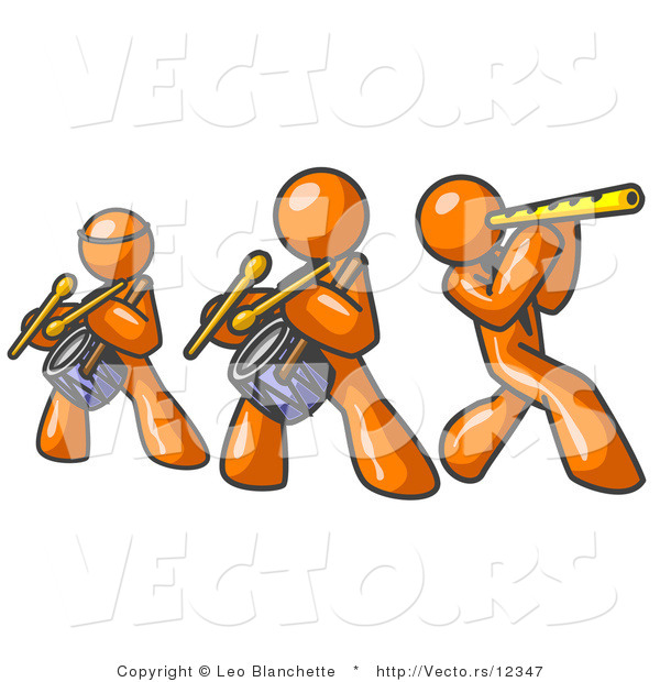 Vector of Three Orange Guys Playing Flutes and Drums at a Music Concert