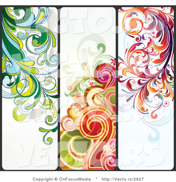 Vector of Three Unique Colorful Flourish Background Borders - Digital Collage