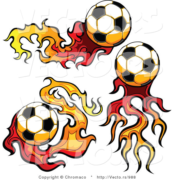 Vector of Three Unique Socccer Balls with Fire Trails