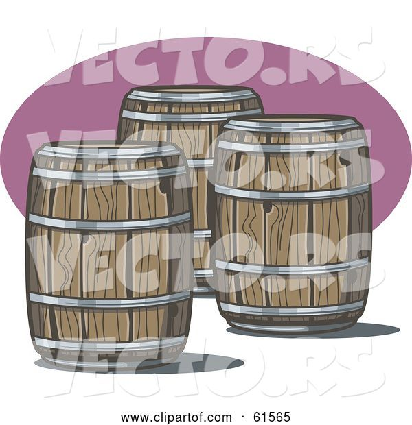Vector of Three Wooden Whiskey Barrels