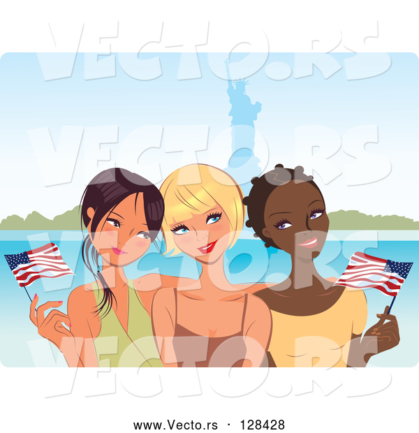 Vector of Three Young Diverse Girlfriends Waving American Flags near the Statue of Liberty