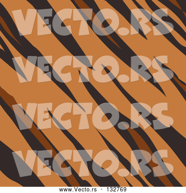 Vector of Tiger Animal Print Background with Brown, Tan and Black Stripes in a Pattern