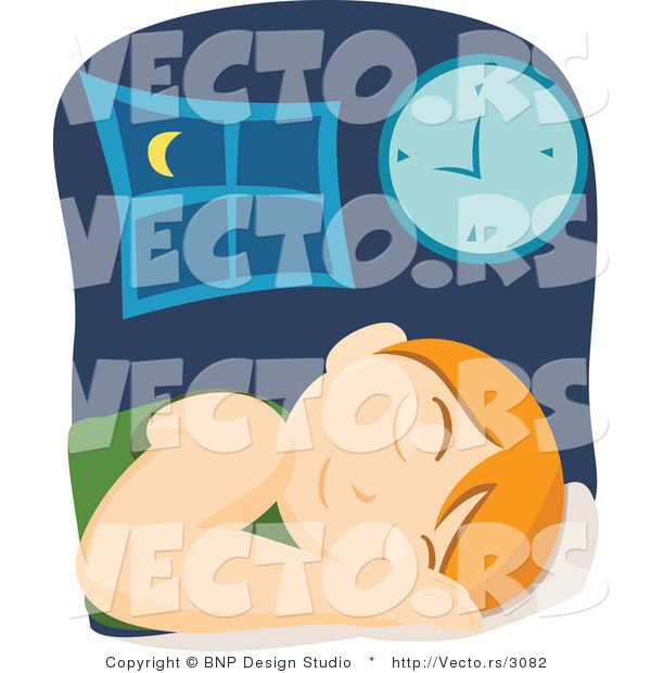 Vector of Tired Boy Sleeping in Bed Beside Clock