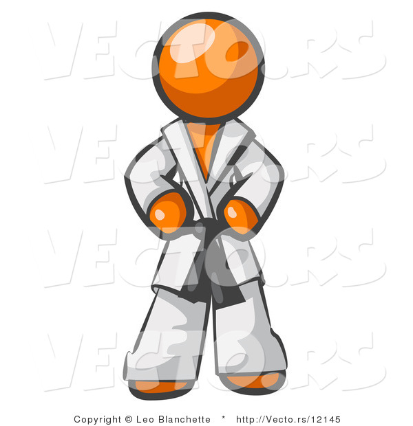 Vector of Tough Orange Guy in a White Karate Suit and a Black Belt, Standing with His Hands on His Hips
