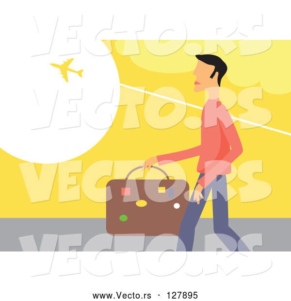 Vector of Traveling Guy Carrying Luggage and Watching a Plane Fly Above