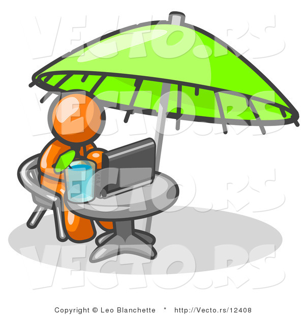 Vector of Traveling Orange Business Guy Sitting Under an Umbrella at a Table Using a Laptop Computer
