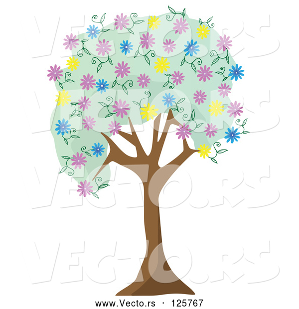 Vector of Tree with Green Foliage and Colorful Spring Blossoms