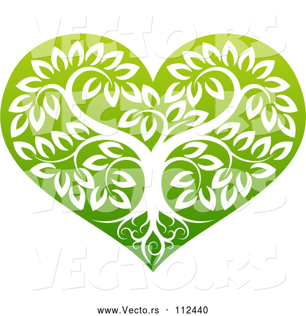 Vector of Tree with Roots and Leafy Branches Inside a Gradient Green Heart