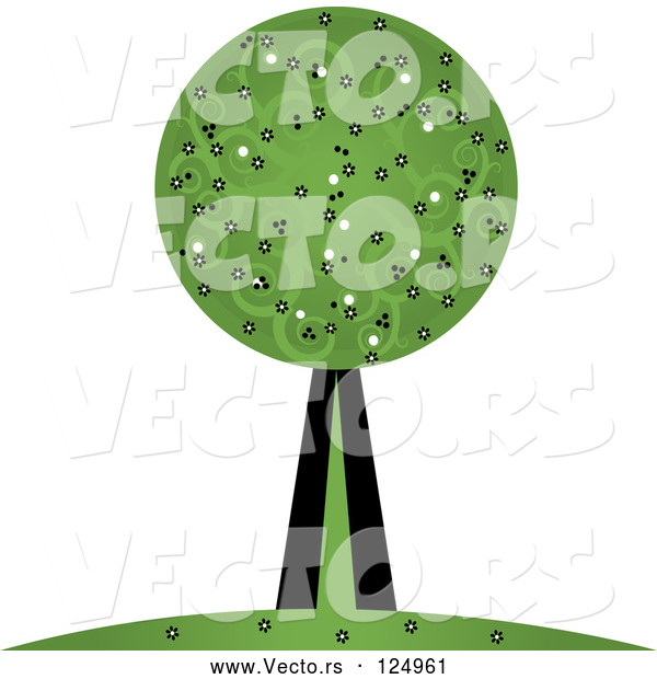 Vector of Tree with Swirl Foliage
