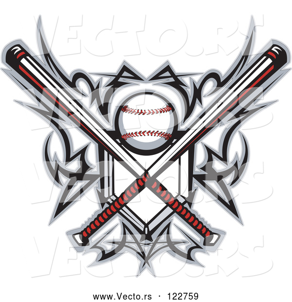 Vector of Tribal Baseball Home Plate with Crossed Bats and Ball Featuring the Sweet Spot