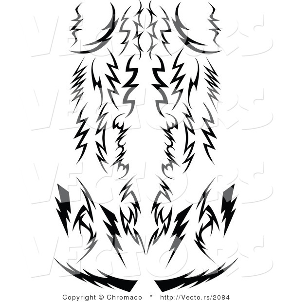 Vector of Tribal Lightning Bolts - Silhouetted Designs