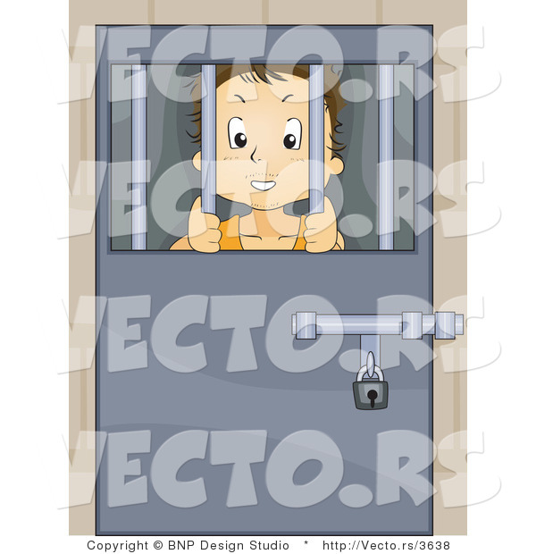 Vector of Troubled Kid Locked Behind Bars in a Juvenile Detention Center or Jail