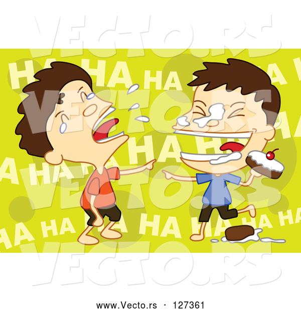 Vector of Twin Boys Food Fighting