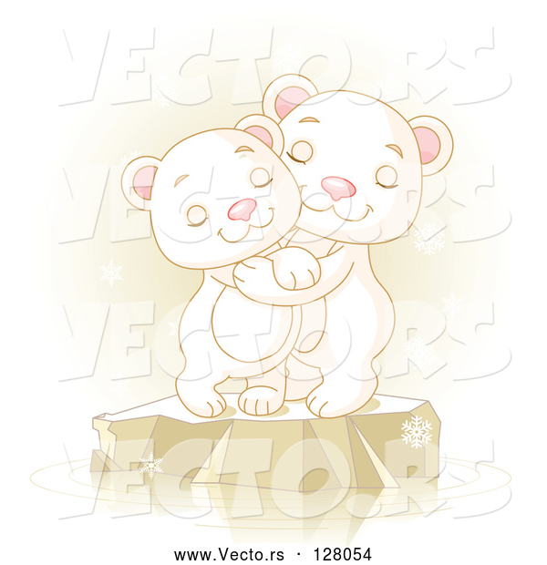 Vector of Two Adorable Polar Bears Hugging and Smiling on Ice