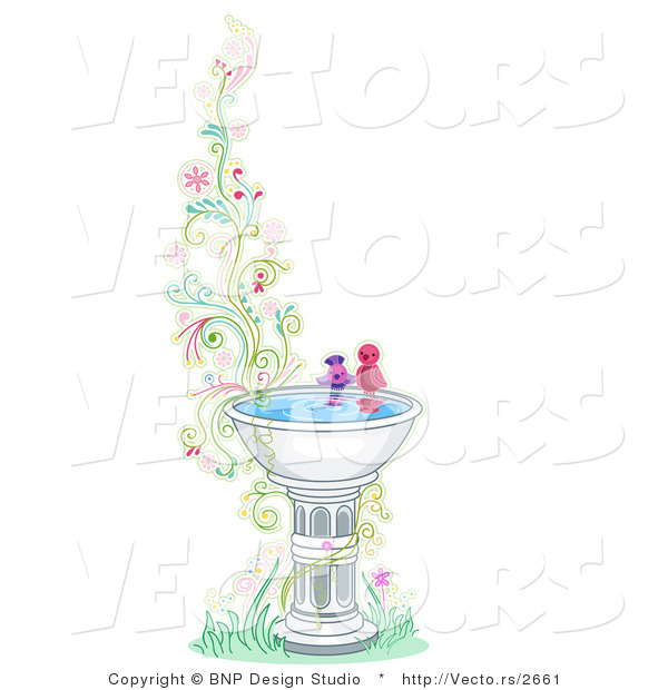 Vector of Two Birds at a Bird Bath Beside Floral Vines - Border Background Design