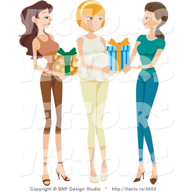 Vector of Two Girl Friends Giving Presents to Pregnant Woman at Baby Shower