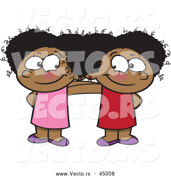Vector of Two Happy Cartoon Black Girls Posing Together While Smiling at Each Other