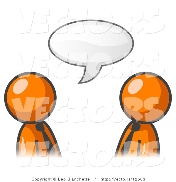 Vector of Two Orange Business Guys Having a Conversation with a Text Bubble