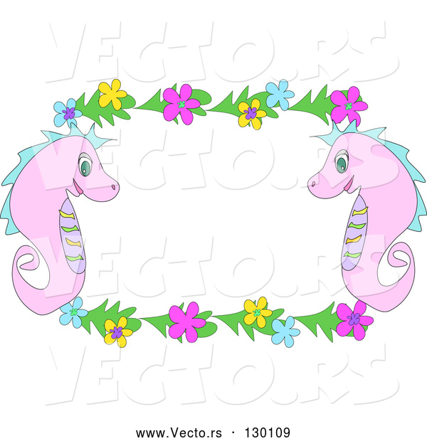 Vector of Two Pink Seahorses with Blue, Yellow and Pink Flowers, Bordering a White Stationery Background