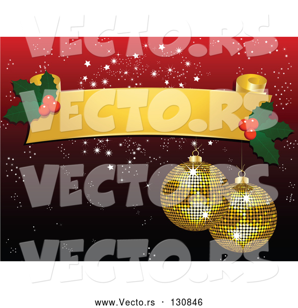 Vector of Two Sparkling Yellow Mirror Disco Ball Christmas Ornaments Hanging from a Blank Yellow Scroll with Holly over a Red Snowflake Background