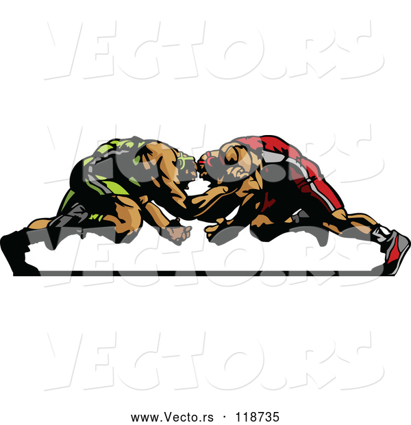 Vector of Two Strong Male Wrestlers in a Match