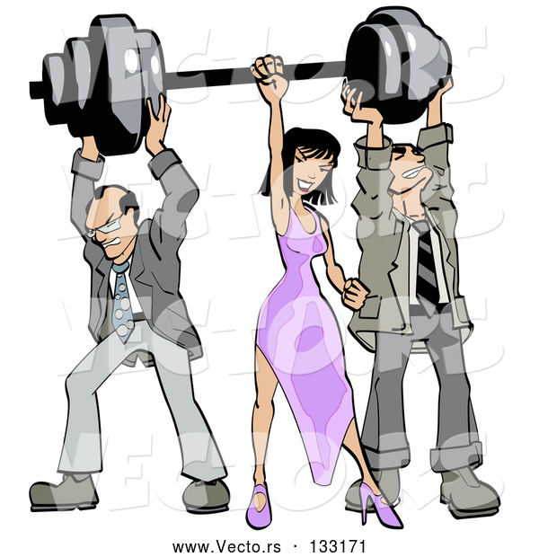 Vector of Two Struggling Business Men Holding up Weights on a Barbell While a Lady Grasps the Bar
