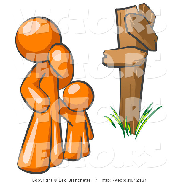 Vector of Uncertain Orange Guy and Child Standing at a Wooden Post, Trying to Decide Which Direction to Go at a Crossroads