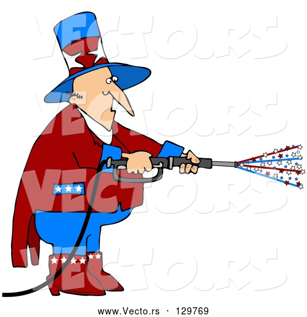 Vector of Uncle Sam in Red, White and Blue, Using a Power Washer and Spraying out Stars on Tax Day or the Fourth of July