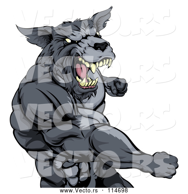Vector of Vicious Muscular Wolf Guy Punching