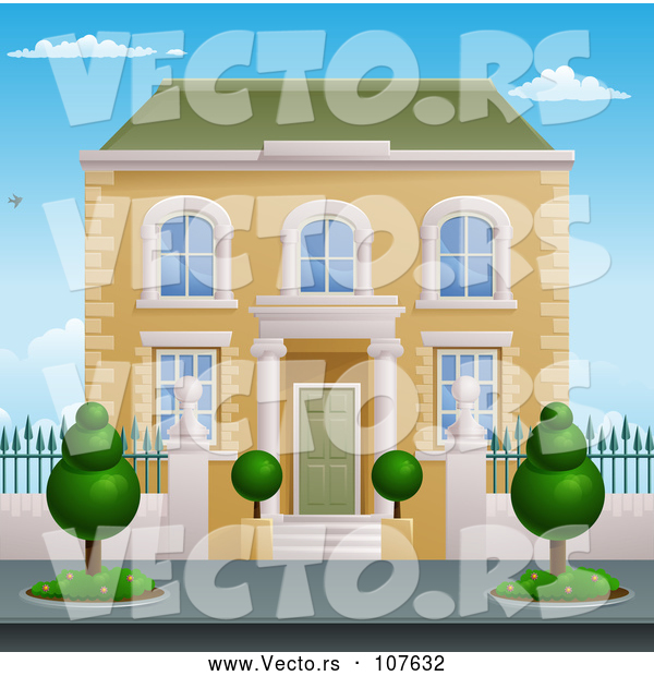 : Vector of Victorian House with Topiary Plants