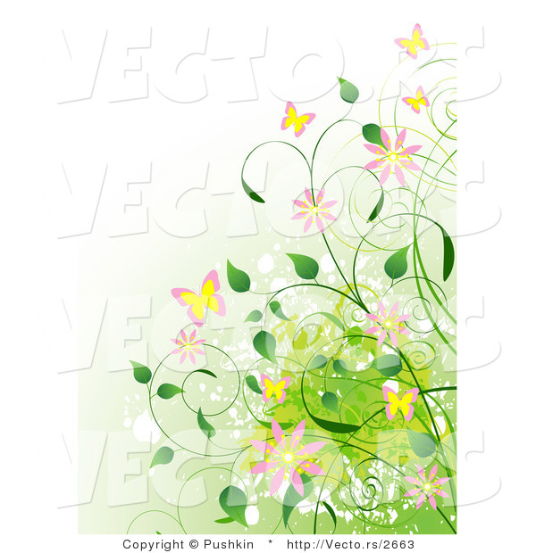 Vector of Vines, Flowers and Butterflies over a Gradient Green Background
