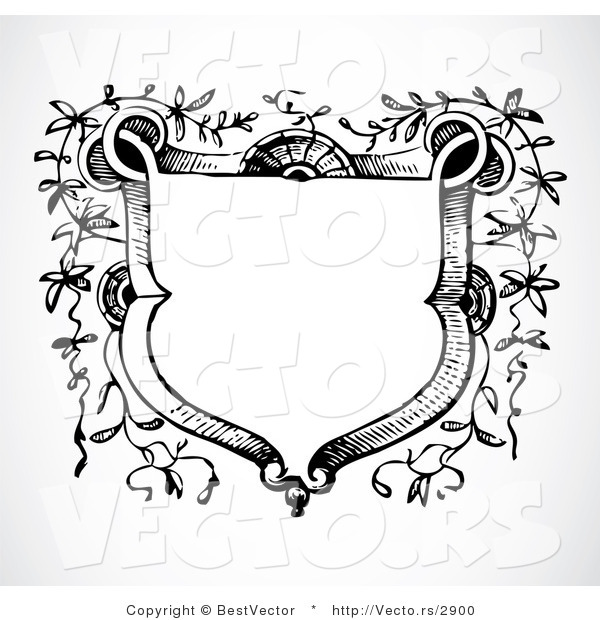 Vector of Vines Growing Around a Blank Crest - Black and White Digital Web Design Element